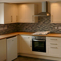 Kitchen wortop and flooring fitting